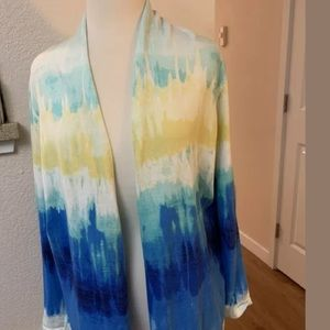 Chicos Size 2 12-14 Large Open Cardigan Tie Dye